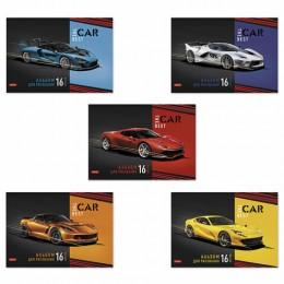 Альбом д/рис. А4 16л., скоба, обложка картон, HATBER, 205х290мм, Best car, 16А4В