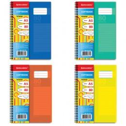 Тетрадь А5, 80 л., BRAUBERG, гребень, клетка, обложка пластик, RAINBOW, 401799