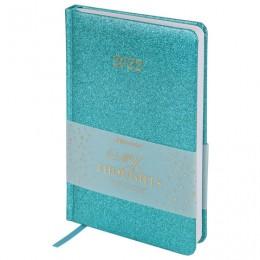 Ежедневник датированный 2022 А5 (138х213мм) BRAUBERG Sparkle бирюзовый, код_, 112829