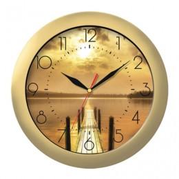 Часы настенные TROYKA 11171146, круг, с рисунком Закат, золотая рамка, 29х29х3,5 см