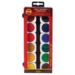 Краски акварельные художественные KOH-I-NOOR, 12 цветов, лессировочные (прозрачные), без кисти, 017550500000