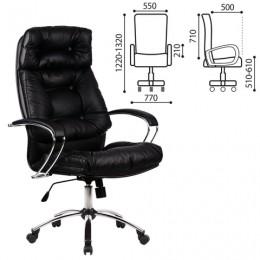 Кресло офисное МЕТТА LK-14CH, кожа, хром, черное