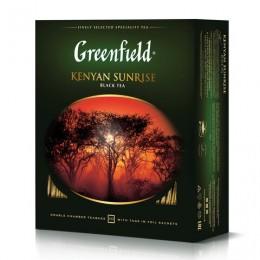 Чай GREENFIELD (Гринфилд) Kenyan Sunrise (Рассвет в Кении), черный, 100 пакетиков в конвертах по 2 г, 0600-09