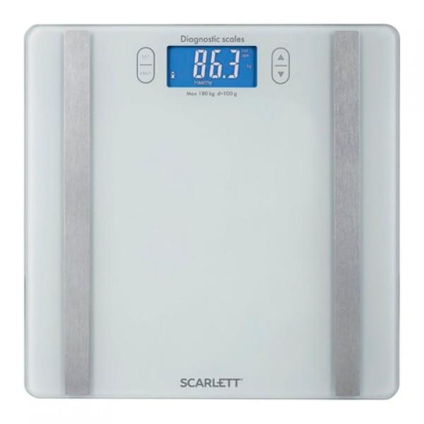 Весы напольные диагностические SCARLETT SC-BS33ED85, электронные, вес до 180 кг, квадратные, стекло, белые, SC - BS33ED85
