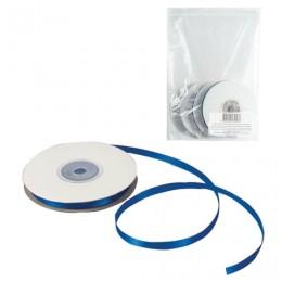 Лента обвязочная атласная для прошивки документов, ширина 6 мм, 4х25 м (100 м), +/- 5%, синяя, 602334