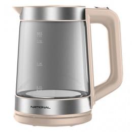 Чайник NATIONAL NK-KE17321, объем 1,7 л, мощность 2200 Вт, закрытый нагревательный элемент, стекло, бежевый