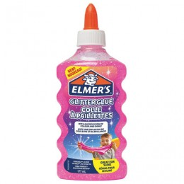 Клей для слаймов канцелярский с блестками ELMERS Glitter Glue, 177 мл, розовый, 2077249