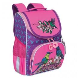 Ранец GRIZZLY школьный, с сумкой для обуви, анатомическая спинка, Птички, 33x25x13см,, RAm-084-3/2