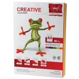 Бумага CREATIVE color (Креатив) А4, 80 г/м2, 100 л., (5 цв.х20 л.), цветная интенсив, БИpr-100r