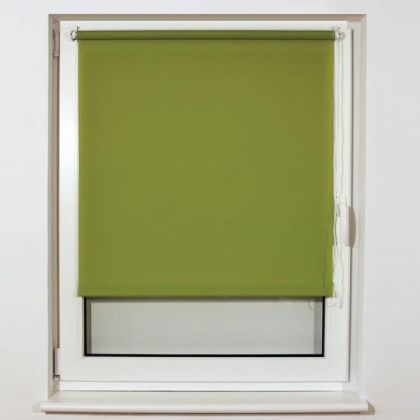 Штора рулонная BRABIX 50х175 см, текстура - лён, защита 55-85%, 200 г/м2, зелёный S-32, 605974