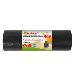 Мешки для мусора 120 л, черные, в рулоне 50 шт., ПВД, 25 мкм, 62х102 см (±5%), эконом, ЛЮБАША, 605335