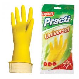 Перчатки хозяйственные латексные, х/б напыление, размер L (большой), желтые, PACLAN Practi Universal