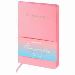 Ежедневник датированный 2022 А5 (138х213мм) BRAUBERG Pastel розовый, 112856