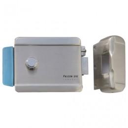 Замок FALCON EYE FE-2370 электромеханический накладной, 3 ключа, кнопка выхода, хромированный, серебро, 00-00001770