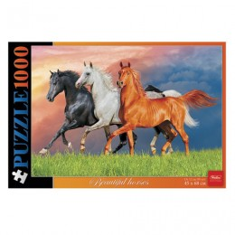 Пазл STANDARD, 1000 элементов, А2, Красивые лошади, 450х680 мм, 1000ПЗ2 13357, U176221