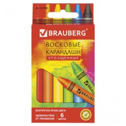 Восковые карандаши утолщенные BRAUBERG АКАДЕМИЯ, НАБОР 6 цветов, 227286