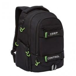 Рюкзак GRIZZLY деловой, 3 отделения, черный, Keep Control, 44x28x23 см, RU-037-5/3
