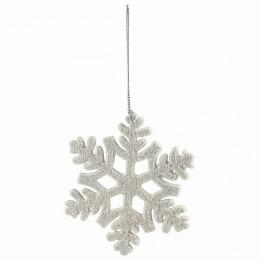 Украшение елочное подвесное Снежинка белая, 10,5х10,5 см, пластик, 77911