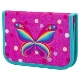 Пенал TIGER FAMILY 1 отделение, 1 откидная планка, ткань, Rainbow Butterfly, 20х14х4 см, 228885, TGNQ-008C1E