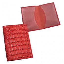 Обложка для паспорта BEFLER Кайман, натуральная кожа, тиснение крокодил, красная, О.1-13красн