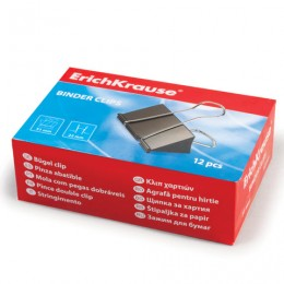Зажимы для бумаг ERICH KRAUSE, комплект 12 шт., 51 мм, на 240 листов, черные, в картонной коробке, 2981