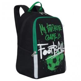 Рюкзак GRIZZLY школьный, анатомическая спинка, черный, Football, 38x29x17 см, RB-051-2/1