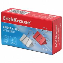 Зажимы для бумаг ERICH KRAUSE, комплект 12 шт., 25 мм, на 110 листов, цветные, в картонной коробке, 25090