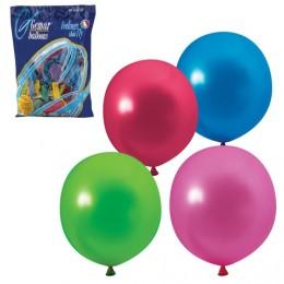 Шары воздушные 12 (30 см), комплект 100 шт., 12 цветов металлик, в пакете, 1101-0004