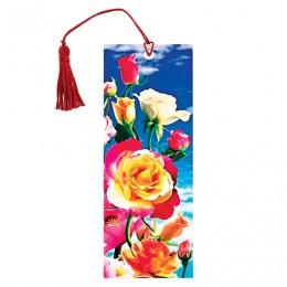 Закладка для книг с линейкой, 3D-объемная, BRAUBERG Розы, с декоративным шнурком, 128100