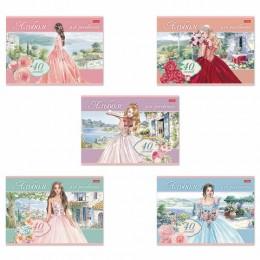 Альбом д/рис. А4 40л., скоба, обложка картон, HATBER, 205х290мм, Грёзы принцесс, 40А4, 40А4В