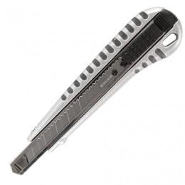 Нож универсальный 9 мм BRAUBERG Metallic, металлический корпус (рифленый), автофиксатор, блистер, 236971