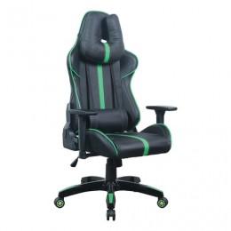 Кресло компьютерное BRABIX GT Carbon GM-120, две подушки, экокожа, черное/зеленое, 531929