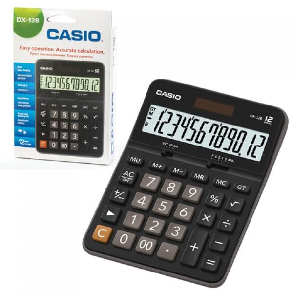 Калькулятор настольный CASIO DX-12B-W (175х129 мм), 12 разрядов, двойное питание, черный, DX-12B-W-EC