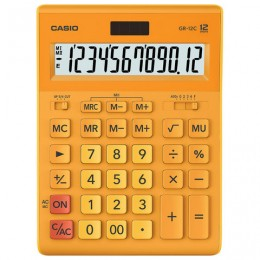 Калькулятор CASIO настольный GR-12С-RG, 12 разрядов, двойное питание, 210х155 мм, оранжевый, GR-12C-RG-W-EP