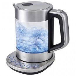 Чайник KITFORT КТ-616, 1,5 л, 2200 Вт, закрытый нагревевательный элемент, 4 режима нагрева, стекло, серебристый, KT-616