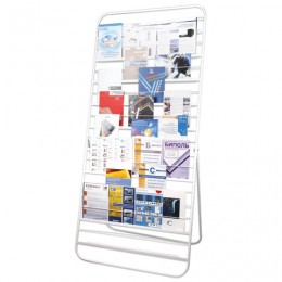 Стенд для рекламных материалов напольный 10П, 2000х500х900 мм, белый, 452