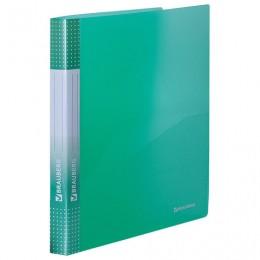 Папка на 2 кольцах BRAUBERG Диагональ, 25 мм, внутренний карман, тонированная зеленая, до 170 листов, 0,7 мм, 227505