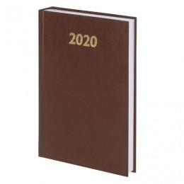 Ежедневник датированный 2020 А5, твердая обложка бумвинил, коричневый, 145*215мм, BRAUBERG, 110908