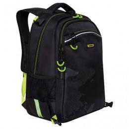 Рюкзак GRIZZLY школьный, с сумкой для обуви, анатомическая спинка, черный, 39x28x17 см, RB-056-1/1