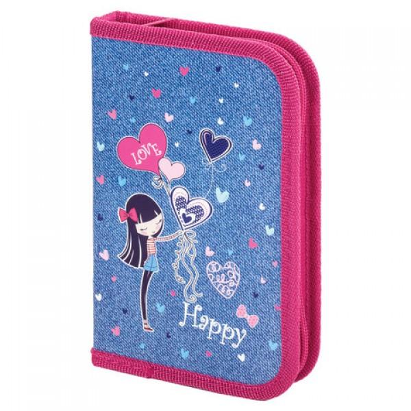 Пенал ПИФАГОР, 1 отделение, ламинированный картон, 19х11 см, Happy girl, 270160