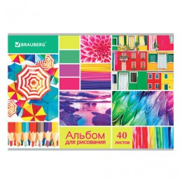 Альбом для рисования А4 40 л., скоба, выборочный лак, BRAUBERG, 202х285 мм, Коллаж (1 вид), 105099