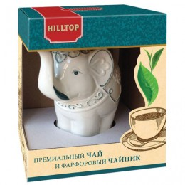 Чай HILLTOP Подарок Цейлона, черный листовой, 80 г, фарфоровый чайник СЛОН ТОПАЗ, 650 мл, 15002