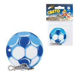 Брелок-подвеска светоотражающий Мяч футбольный синий, 50 мм