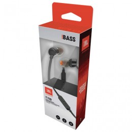 Наушники с микрофоном (гарнитура) JBL T110 BLK, проводные, 1,2 м, вкладыши, стерео, черные, T110BLK