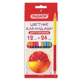 Карандаши двухцветные ПИФАГОР