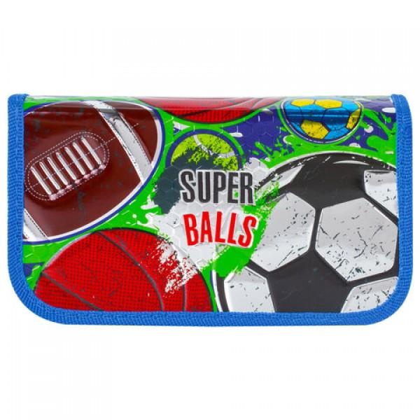 Пенал BRAUBERG, 2 отделения, металлизированный картон, конгрев, 19х11 см, Супер-мячи, 228101