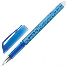 Ручка стираемая гелевая STAFF, СИНЯЯ, хромированные детали, узел 0,5 мм, линия письма 0,35 мм, 142494