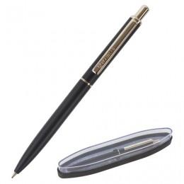 Ручка бизнес-класса шариковая BRAUBERG Larghetto, СИНЯЯ, корпус черный с хромированными деталями, линия письма 0,5 мм, 143476