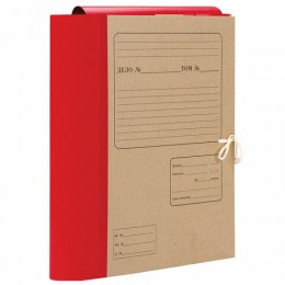 Папка для бумаг архивная А4 (225х310 мм), 120 мм, 4 завязки, крафт, корешок - бумвинил, 123204