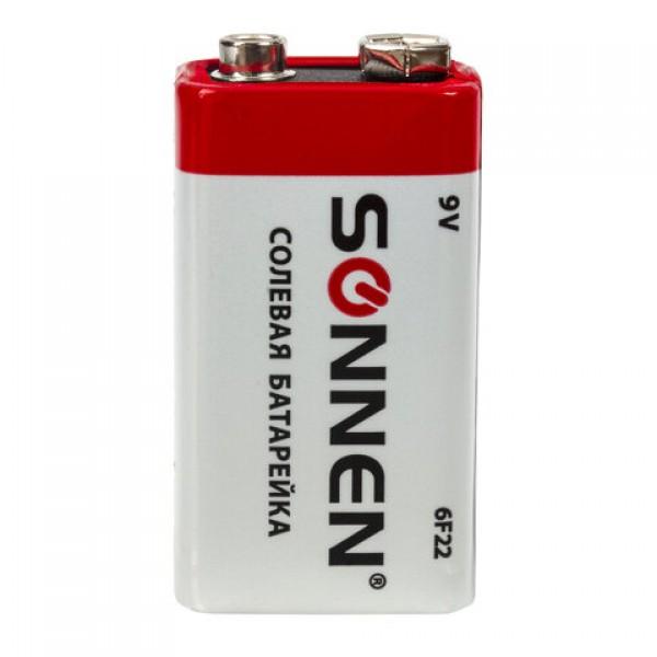 Батарейка SONNEN, Крона (6R61, 6F22, 1604), солевая, 1 шт., в пленке, 451101